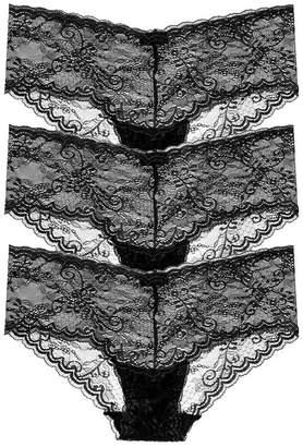 Cosabella Trenta Lowrider Lace Hotpant Black 3-Pack