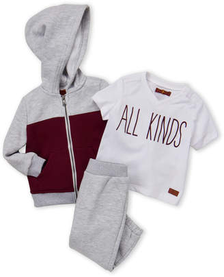 7 For All Mankind Infant Boys) 3-Piece Zip-Up Hoodie & Joggers Set