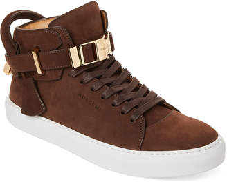 Buscemi Chocolate Clip Nubuck Mid-Top Sneakers