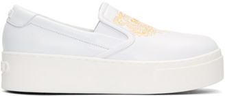 Kenzo White Leather Tiger Sneakers $345 thestylecure.com