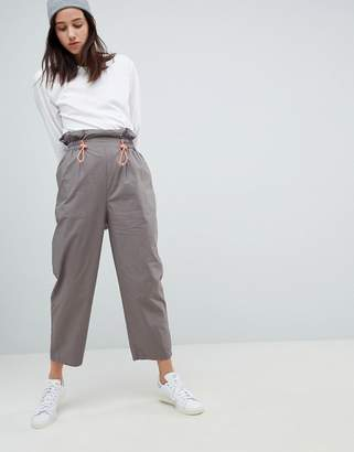 Asos Design DESIGN paper bag waist pants with neon toggle