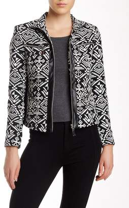 Insight Faux Leather Trim Printed Jacket