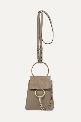 Chloé Faye Bracelet Leather And Suede Shoulder Bag - Gray