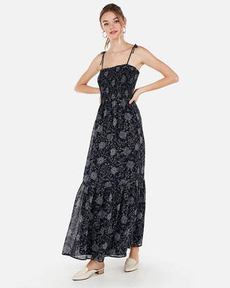 df34c8bb05e70 Express Floral Smocked Bodice Flounce Maxi Dress
