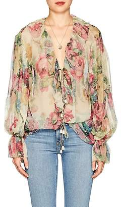 Zimmermann Women's Jaya Floral Silk Blouse