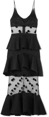 David Koma Tiered Satin, Polka-dot Flocked Tulle And Cady Midi Dress - Black