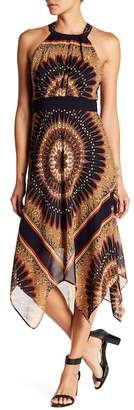 Sandra Darren Patterned Asymmetrical Hem Dress