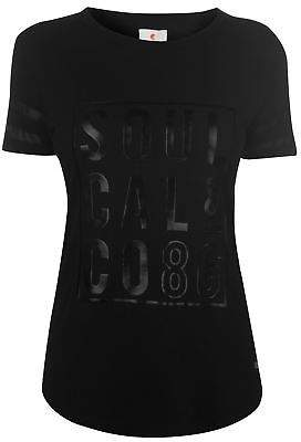Soul Cal SoulCal Womens Deluxe 2 Tone T Shirt Crew Neck Tee Top Short Sleeve Mesh Print