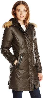 Vince Camuto Outerwear Women's Waxy Parka with Faux Fur Trim