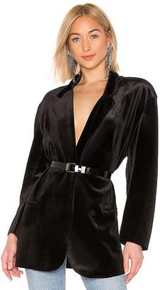 Norma Kamali Oversized Double Breasted Velvet Jacket
