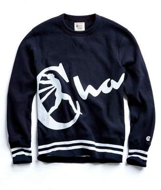 Todd Snyder + Champion Champion Oversized Script Crewneck Sweatshirt in Navy
