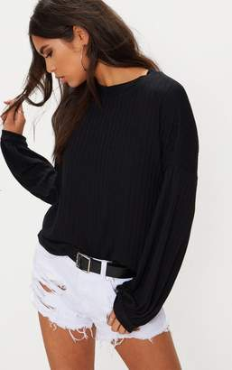 PrettyLittleThing Black High Neck Rib Long Sleeve Top