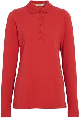 Burberry Long-sleeve Check Placket Cotton Piqué Polo Shirt