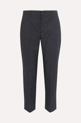 Prada Cropped Checked Flannel Straight-leg Pants - Charcoal