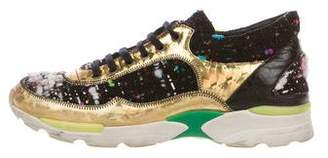 Chanel CC Holographic Tweed Sneakers