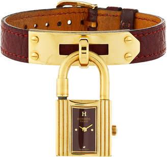 Hermes Estate Kelly Watch w/ Leather, Gold/Burgundy