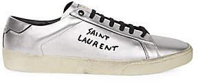 Saint Laurent Men's Metallic Leather Sneakers