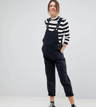 Asos DESIGN Maternity denim dungaree with pleat detail in washed black