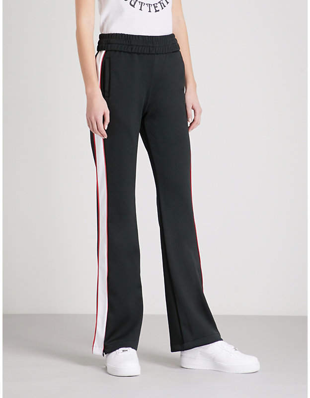 Contrast-tape jersey jogging bottoms