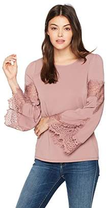 Adrianna Papell Women's Crew Neck Long Bell Sleeve Knit Crepe With Lace Detail