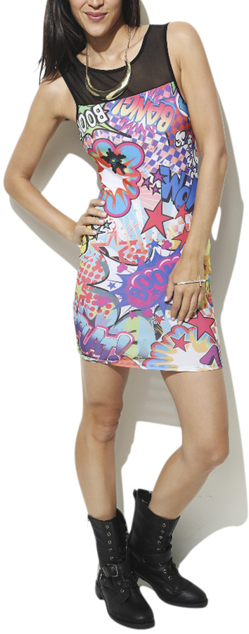 Wet Seal Comic Boom Bodycon Dress