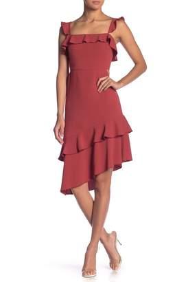 Endless Rose Asymmetrical Ruffle Detailed Dress