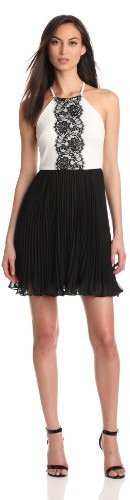 Max & Cleo Women's Ruffle-Tiered Dress With Lace Neckline Detail
