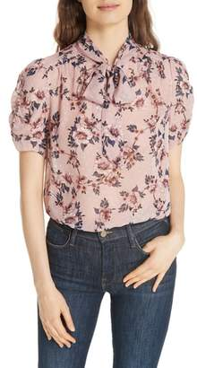 Kate Spade prairie rose tie neck silk blouse