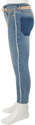 River Island Girls Blue Amelie frayed belted skinny jeans