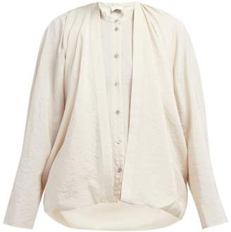 Lemaire Double Layer Draped Front Silk Blend Blouse - Womens - Beige