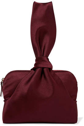 The Row Wristlet Knotted Satin Clutch - Burgundy