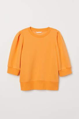 H&M Puff-sleeved Sweatshirt - Yellow