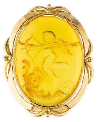 18K Amber Carved Brooch Pendant