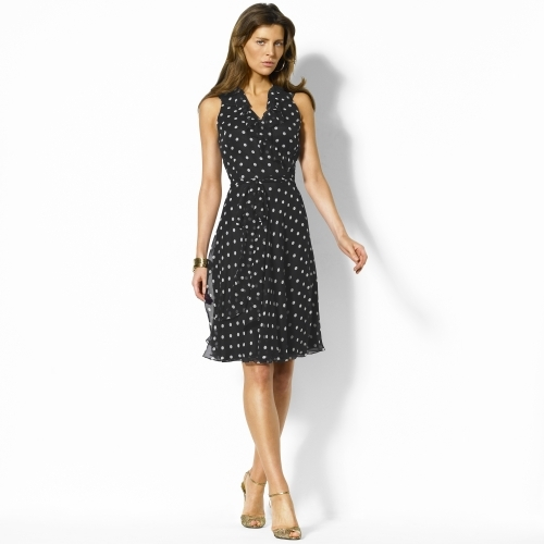Ralph Lauren Shannon Silk Polka-Dot Dress