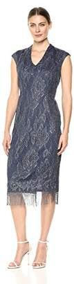 S.L. Fashions Women's Sleeveless V-Neck Midi Crochet Dress with Fringe Hem