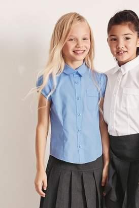 Next Girls Blue Puff Sleeve Blouse (3-16yrs)