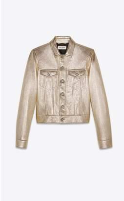 Saint Laurent Denim Jacket In Lame Leather