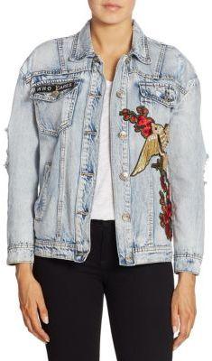 True Religion Embroidered Distressed Denim Jacket $289 thestylecure.com