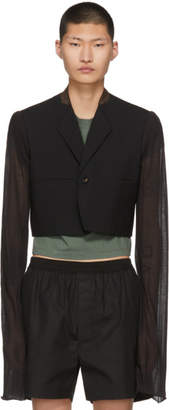 Rick Owens Black Wool Micron One-Button Blazer