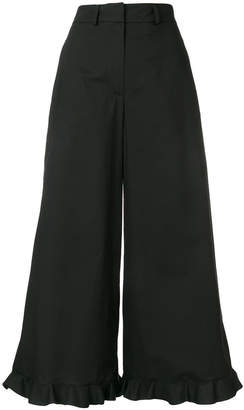 L'Autre Chose frill hem cropped palazzo trousers