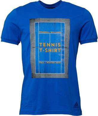 adidas x Pharrell Williams Mens New York Graphic Tennis T-Shirt Blue