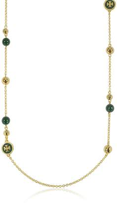 Tory Burch Raised Golden Logo Rosary Necklace