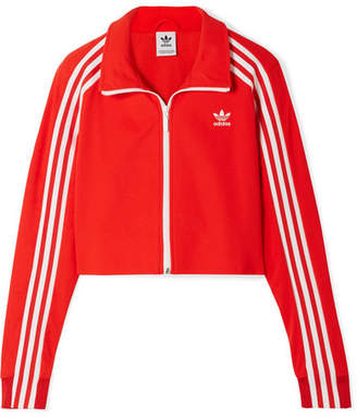 adidas Cropped Striped Jersey Track Jacket - Red