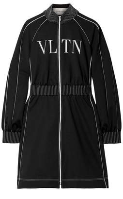 Valentino Silk Crepe-trimmed Printed Jersey Mini Dress - Black