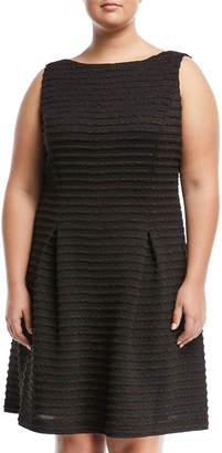 Neiman Marcus Plus Jacquard Knit A-line Dress, Plus Size