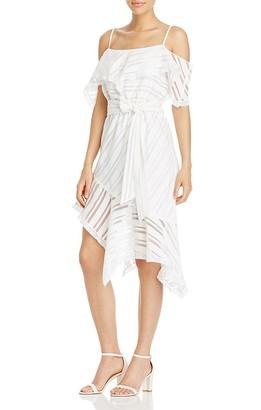 AQUA x Maddie & Tae Shadow Stripe Handkerchief Hem Dress - 100% Exclusive $148 thestylecure.com