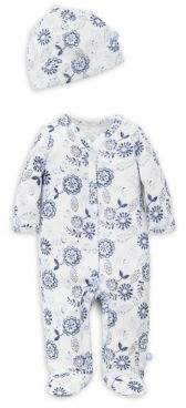 Offspring Baby Girl's Floral Footie and Hat Set