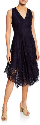 Neiman Marcus Lace Sleeveless Handkerchief Dress