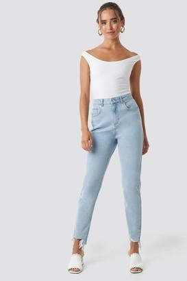 NA-KD High Waist Ripped Ankle Mom Jeans Blue