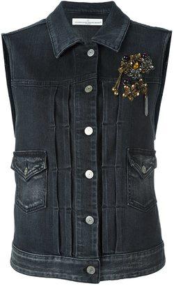 Golden Goose Deluxe Brand embellished denim vest $635 thestylecure.com